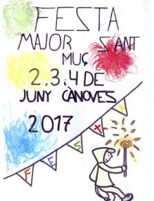 Il·lustració realitzada per Oriol Sánchez, alumne de 5è de primària de l'escola l'Estelada, guanyador del concurs d'il·lustracions per a la portada de la festa Major de Cànoves.